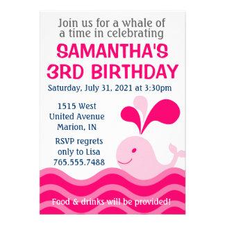 Invitación de la fiesta de cumpleaños del rosa de
