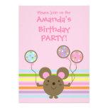 Invitación de la fiesta de cumpleaños del rosa del