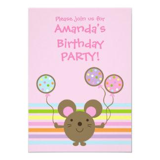 Invitación de la fiesta de cumpleaños del rosa del invitación 12,7 x 17,8 cm