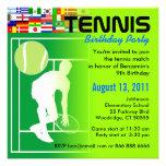 Invitación de la fiesta de cumpleaños del tenis