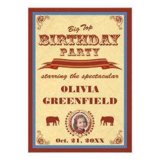 Invitación de la fiesta de cumpleaños del top gran