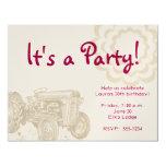 Invitación de la fiesta de cumpleaños del tractor invitación 10,8 x 13,9 cm