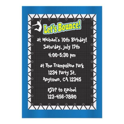 Invitación de la fiesta de cumpleaños del trampolí