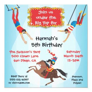 Invitación de la fiesta de cumpleaños del trapecio invitación 13,3 cm x 13,3cm