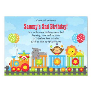 Invitación de la fiesta de cumpleaños del tren del invitación 12,7 x 17,8 cm