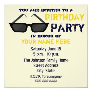 Invitación de la fiesta de cumpleaños - lentes de invitación 13,3 cm x 13,3cm