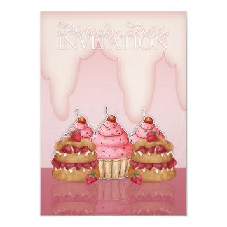 Invitación de la fiesta de cumpleaños - magdalenas invitación 12,7 x 17,8 cm