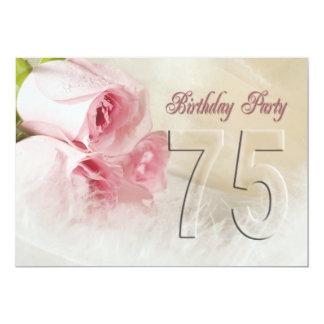 Invitación de la fiesta de cumpleaños por 75 años invitación 12,7 x 17,8 cm