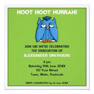 Invitación de la fiesta de graduación 2 del verde invitación 13,3 cm x 13,3cm