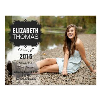 Invitación de la fiesta de graduación de la foto postal