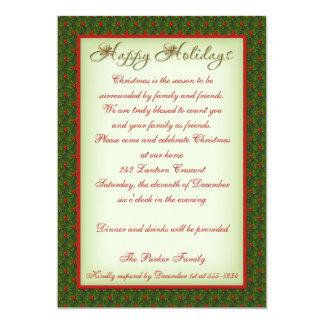 Invitación de la fiesta de Navidad del acebo y de