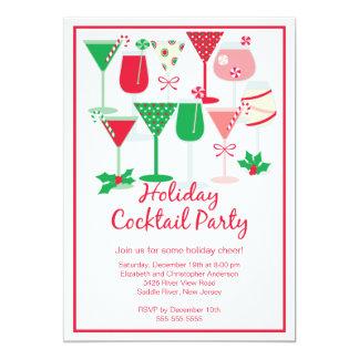 Invitación de la fiesta de Navidad del cóctel del Invitación 12,7 X 17,8 Cm
