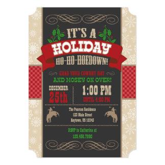 Invitación de la fiesta de Navidad del Hoedown del