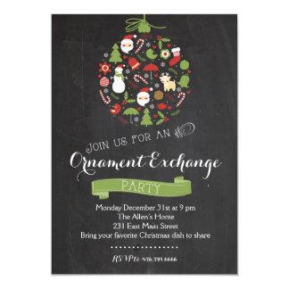 Invitación de la fiesta de Navidad del intercambio Invitación 12,7 X 17,8 Cm