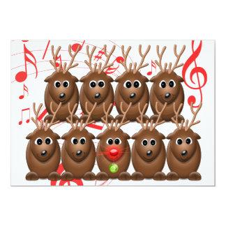 Invitación de la fiesta de Navidad del reno de