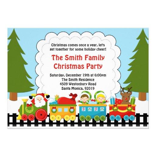 Invitación de la fiesta de Navidad del tren de San