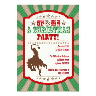 Invitación de la fiesta de Navidad del vaquero