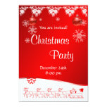 Invitación de la fiesta de Navidad en fondo rojo Invitación 12,7 X 17,8 Cm
