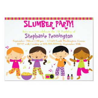 Invitación de la fiesta de pijamas del cumpleaños invitación 12,7 x 17,8 cm