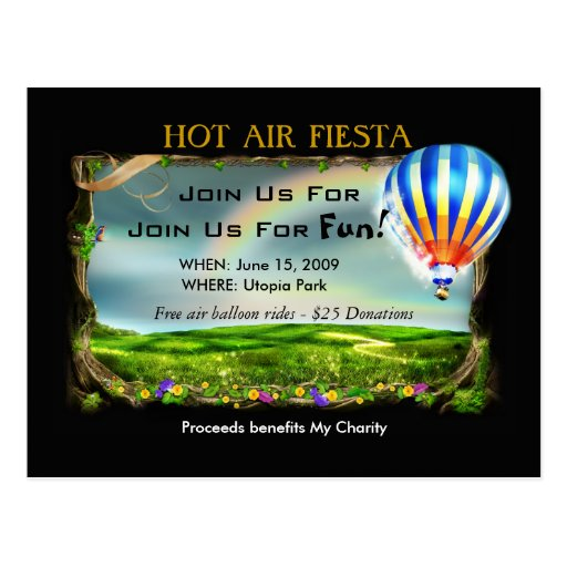 Invitación de la fiesta del aire caliente postales