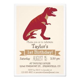 Invitación de la fiesta del cumpleaños de T-Rex Invitación 12,7 X 17,8 Cm