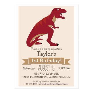 Invitación de la fiesta del cumpleaños de T-Rex Tarjetas Postales