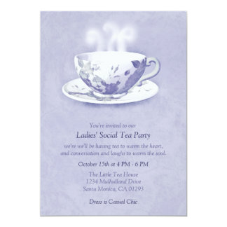 Invitación de la fiesta del té de la lavanda
