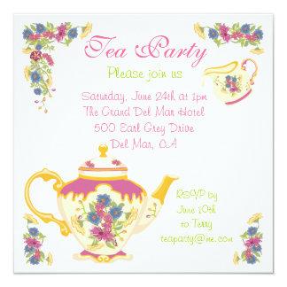 Invitación de la fiesta del té del pote del té del invitación 13,3 cm x 13,3cm