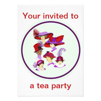 Invitación de la fiesta del té señoras que llevan