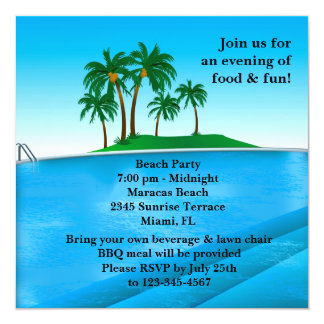 Invitación de la fiesta en la piscina