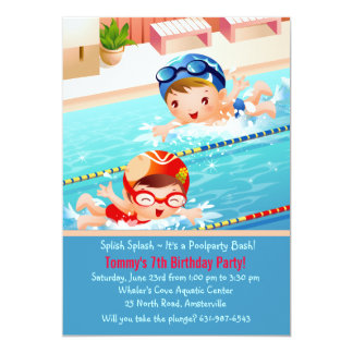 Invitación de la fiesta en la piscina de los bebés