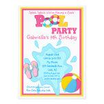 Invitación de la fiesta en la piscina de los chica