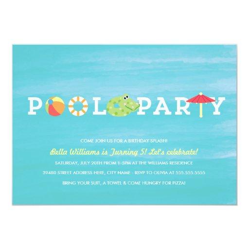 Invitación de la fiesta en la piscina del