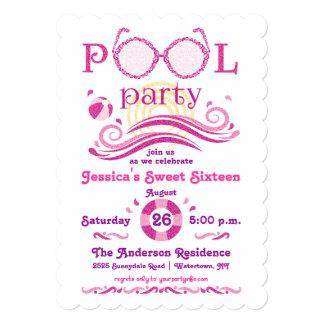 Invitación de la fiesta en la piscina del dulce 16 invitación 12,7 x 17,8 cm