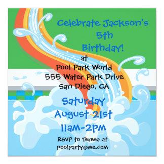Invitación de la fiesta en la piscina del parque