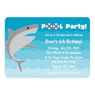 Invitación de la fiesta en la piscina del tiburón