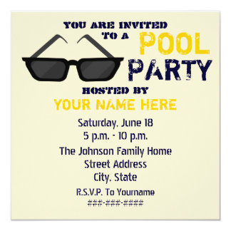 Invitación de la fiesta en la piscina - lentes de invitación 13,3 cm x 13,3cm