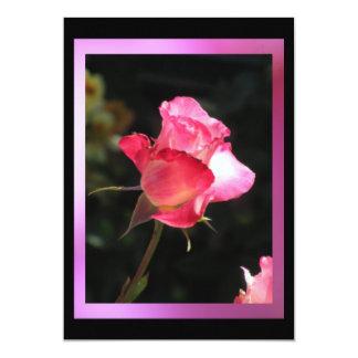 Invitación de la flor - color de rosa rosado - invitación 12,7 x 17,8 cm