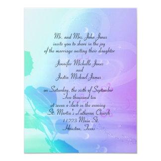Invitación de la flor y del boda del corazón invitación 10,8 x 13,9 cm