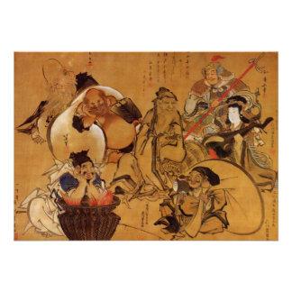 Invitación de la fortuna de Hokusai siete dioses