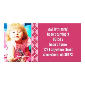 Invitación de la foto de Argyle Birthdy de la fram Plantilla Para Tarjeta De Foto
