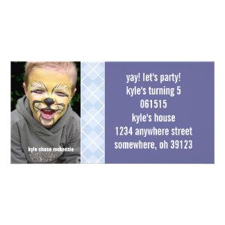 Invitación de la foto de Argyle Birthdy de la Tarjeta Fotografica Personalizada