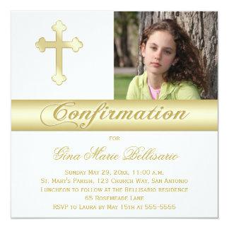 Invitación de la foto de la confirmación del oro invitación 13,3 cm x 13,3cm