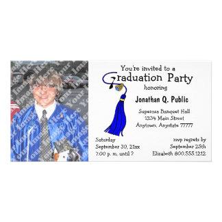 Invitación de la foto de la fiesta de graduación d plantilla para tarjeta de foto