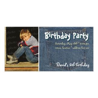 Invitación de la foto de la fiesta del cumpleaños tarjeta fotografica personalizada