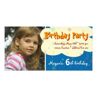 Invitación de la foto de la fiesta del cumpleaños tarjeta personal con foto