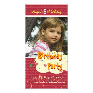 Invitación de la foto de la fiesta del cumpleaños  tarjetas personales