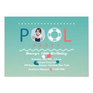 Invitación de la foto de la fiesta en la piscina invitación 12,7 x 17,8 cm