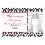 Invitación de la foto de la graduación del damasco