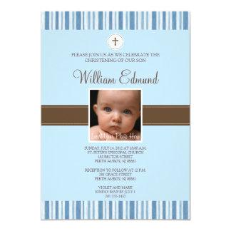 Invitación de la foto de la raya azul del bautizo invitación 12,7 x 17,8 cm